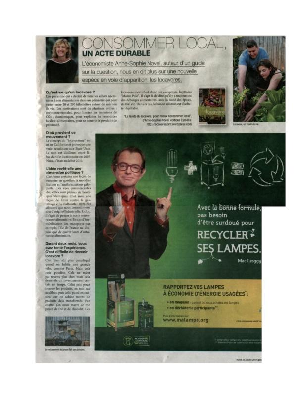 Interview de Marc Hélary pour Le Parisien - 26 octobre 2010